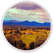 Round Beach Towel featuring the photograph Big Sky Country by Wallaroo Images