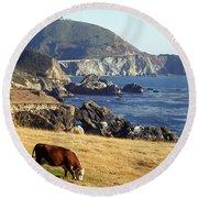 Big Sur Cow Round Beach Towel