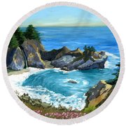 Big Sur Waterfall Round Beach Towel