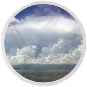 Big Thunderstorm Over The Bay Round Beach Towel