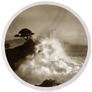 Big Wave Hitting The Lone Cypress Tree Pebble Beach California 1916 Round Beach Towel by California Views Mr Pat Hathaway Archives