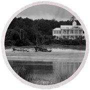 Big White House Round Beach Towel by Cynthia Guinn