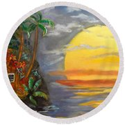 Big Yellow Sun Round Beach Towel