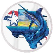 Bigger In Texas Round Beach Towel