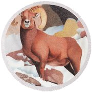 Bighorn Sheep Winter Round Beach Towel