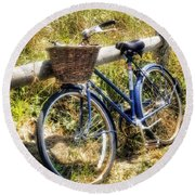 Round Beach Towel featuring the photograph Bike At Nantucket Beach by Tammy Wetzel