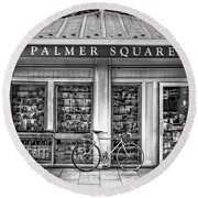 Bike At Palmer Square Book Store In Princeton Round Beach Towel