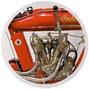 Bike - Motorcycle - Indian Motorcycle Engine Round Beach Towel