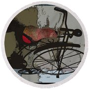 Bike Seat View Round Beach Towel by Ecinja