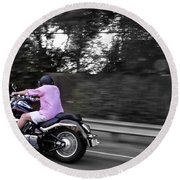 Round Beach Towel featuring the photograph Biker by Gandz Photography