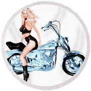Biker Girl Round Beach Towel by Renate Janssen