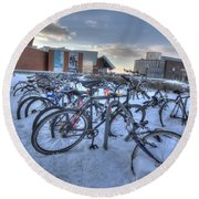 Bikes At University Of Minnesota  Round Beach Towel by Amanda Stadther