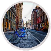 Bikes In The Snow Round Beach Towel