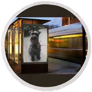 Round Beach Towel featuring the photograph Billboard Siren by Pat Purdy