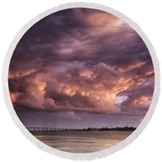Billowing Clouds Round Beach Towel