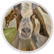 Round Beach Towel featuring the painting Billy by Donna Tuten