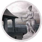 Biltmore Italian Garden Gazebo - Biltmore House Statues Architecture Garden Round Beach Towel by Kathy Fornal