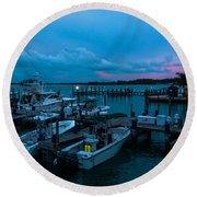 Bimini Big Game Club Docks After Sundown Round Beach Towel
