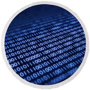 Binary Code On Pixellated Screen Round Beach Towel