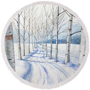 Birch Trees Along The Curvy Road Round Beach Towel