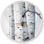 Birch Trees In Watercolor Round Beach Towel