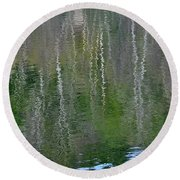 Birch Trees Reflected In Pond Round Beach Towel