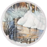 Birch Trio II Round Beach Towel