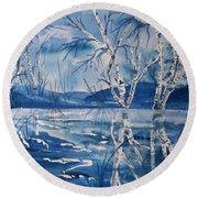 Birches In Blue Round Beach Towel by Ellen Levinson