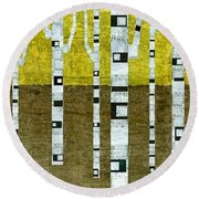 Birches In Fall Round Beach Towel by Michelle Calkins