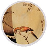 Bird And Bamboo Round Beach Towel