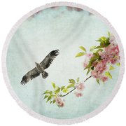 Bird And Pink And Green Flowering Branch On Blue Round Beach Towel by Brooke T Ryan