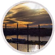 Bird - Boat - Bay Round Beach Towel