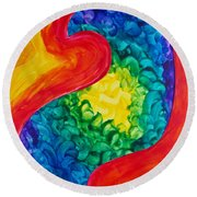 Round Beach Towel featuring the painting Bird Form II by Michele Myers