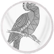 Bird Hornbill Round Beach Towel by Neeti Goswami