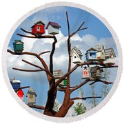 Bird House Village Round Beach Towel