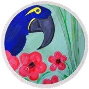 Round Beach Towel featuring the painting Bird In Paradise   by Nora Shepley