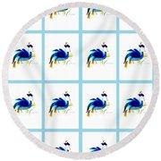 Round Beach Towel featuring the digital art Bird Lady 2 by Ann Calvo