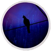 Round Beach Towel featuring the photograph Bird On The Wire ... by Chris Armytage