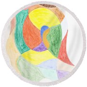 Round Beach Towel featuring the painting Duck by Stormm Bradshaw