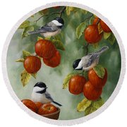 Bird Painting - Apple Harvest Chickadees Round Beach Towel