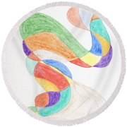 Round Beach Towel featuring the painting Bird Snake by Stormm Bradshaw