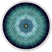 Round Beach Towel featuring the digital art Bird Tail Lotus Mandala by Deborah Smith