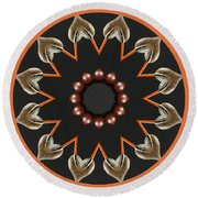 Round Beach Towel featuring the photograph Bird With Egg Kaleidoscope by Betty Denise