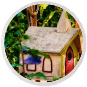 Birdhouse Church Round Beach Towel