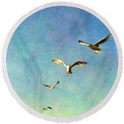 Birds Above Round Beach Towel