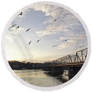 Birds And Bridges Round Beach Towel