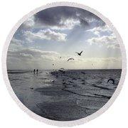 Birds At The Beach 2 Round Beach Towel