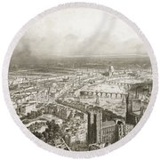 Birds Eye View Of London From Westminster Abbey Round Beach Towel