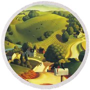 Birds Eye View Round Beach Towel by Robin Moline