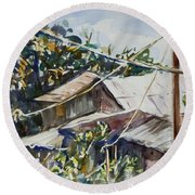 Round Beach Towel featuring the painting Bird's Eye View by Xueling Zou